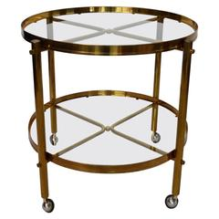Large Brass and Glass Regency Style Trolley or Bar Cart, Made in Italy, 1960s