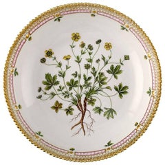 Flora Danica Porcelain Bowl Decorated in Colors and Gold with Flower