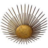 French 1940s Gilt Iron Modern Neoclassical 'Sunburst' Flush Mount or Pendant