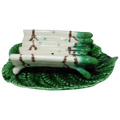 19th Century Majolica Sarreguemines Asparagus Platter and Craddle