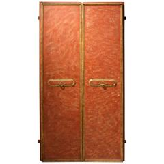 Pair of Italian Red Lacquered Wood Doors with gilt accents