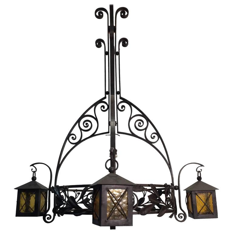Early 20th Century French Art Nouveau Wrought Iron Chandelier by Francois Carion