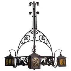 Stunning, Early Arts and Crafts Wrought Iron Chandelier by Francois Carion