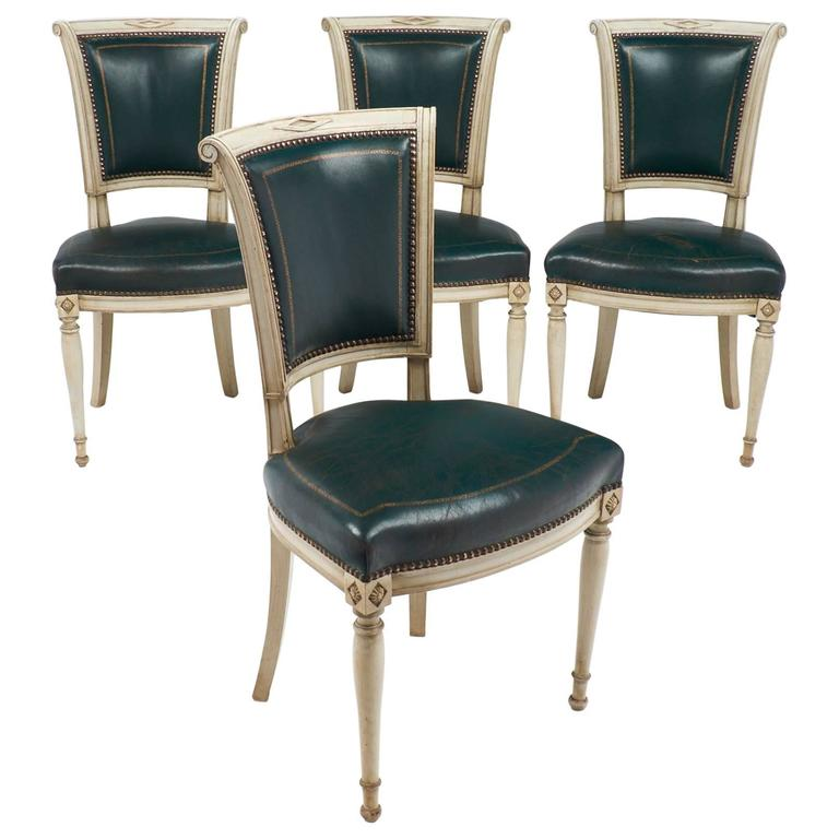 Set of Four French Directoire Style Side Chairs For Sale