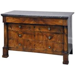 19th Century French Empire Commode in Walnut with Marble Top