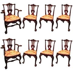 19th Century Victorian Chippendale Style Mahogany Dining Chairs