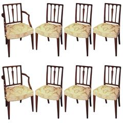 Set of Six Single and Two-Arm George III Period Mahogany Dining Chairs