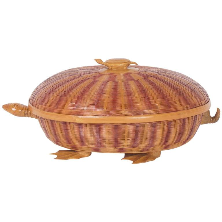 Amusing Mid-Century Wicker Turtle Box