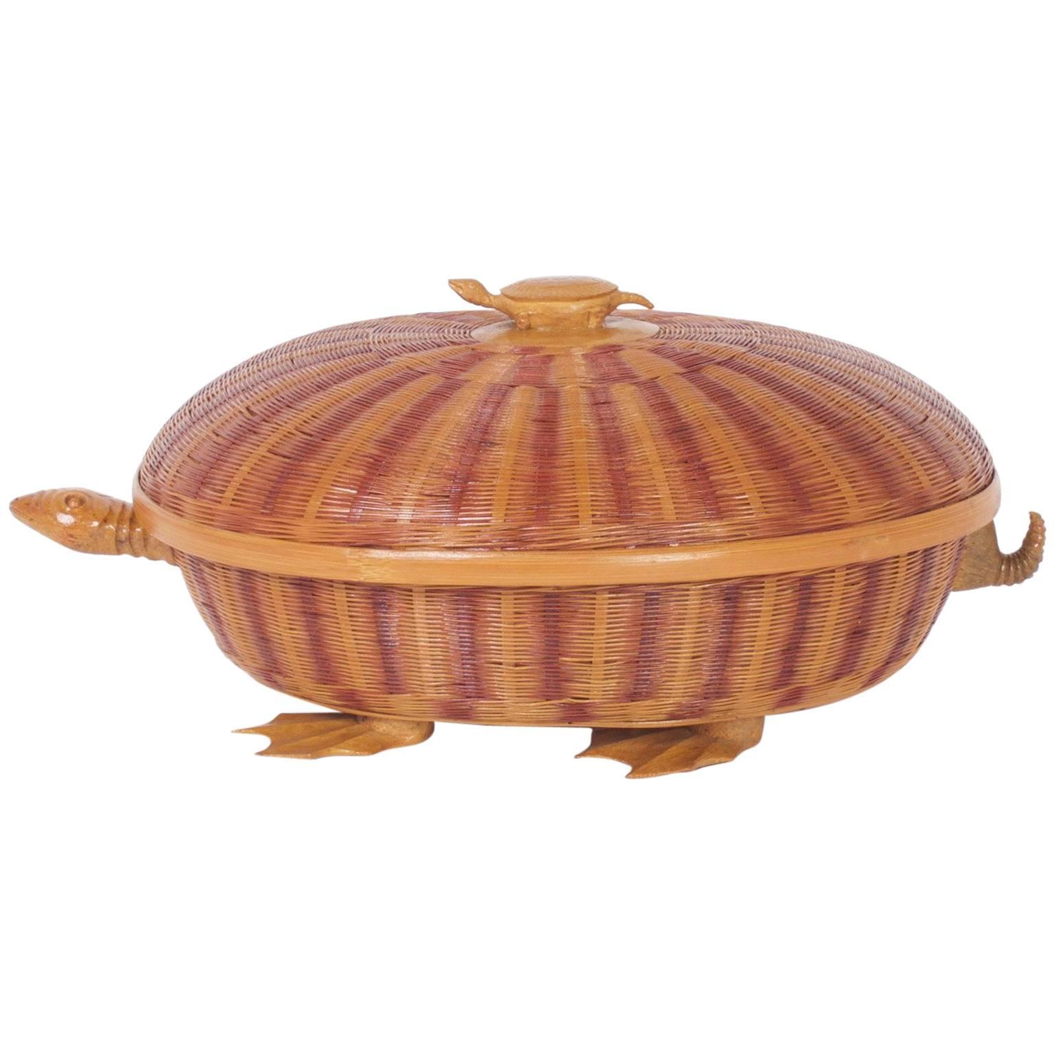 Amusing Mid-Century Wicker Turtle Box