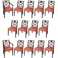 Set of 14 Regency Period Mahogany X-Frame Dining Chairs