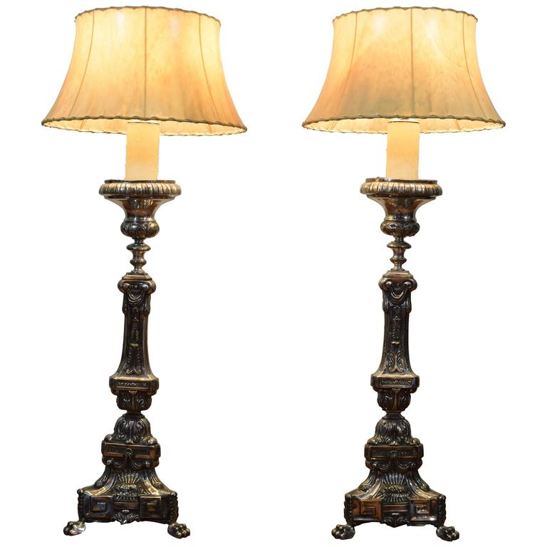 Pair of Large Italian Silvered Brass Candlestick Lamps, Louis XV/XVI Period
