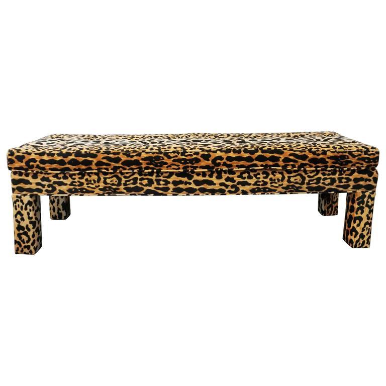 Ballard Serengeti Velvet Jamil Leopard Upholstered Bench At 1stdibs