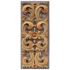 Mid-20th Century Italian Carved Polychrome Wood Decorative Panel