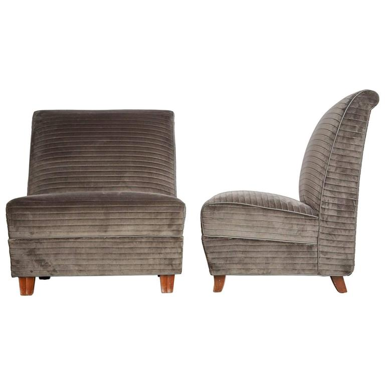 Eugene Schoen Signed Slipper Chairs, Restored Pair, circa 1930 For ...