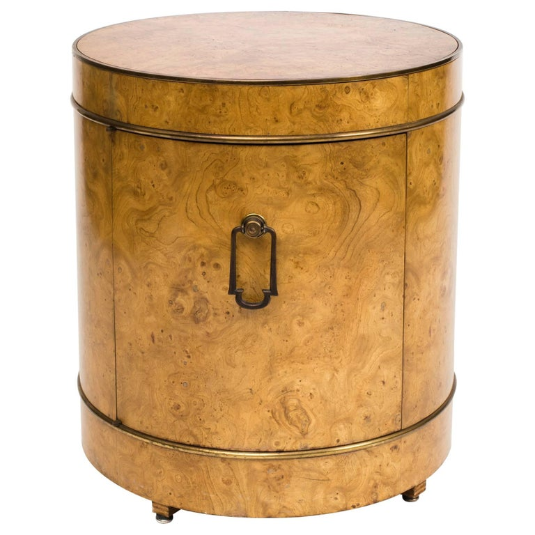 Mastercraft Burl Wood Drum Bar Cabinet End Table For Sale