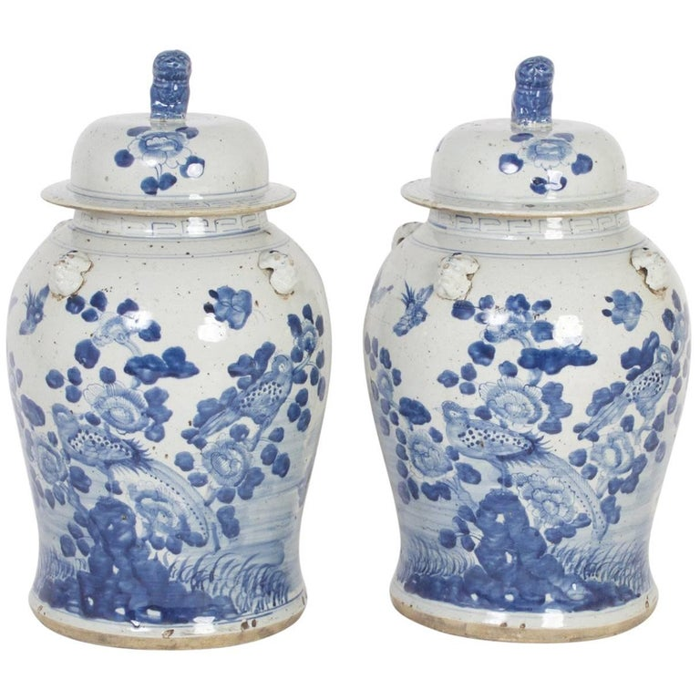 Pair of Chinese Export Style Blue and White Lidded Jars For Sale