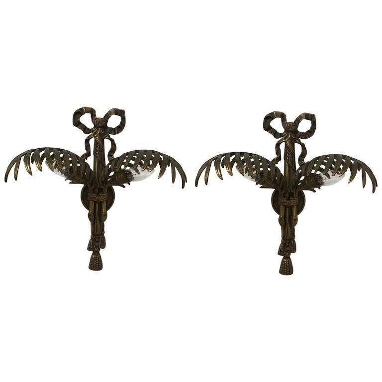 Pair of Hollywood Regency Brass Wall Sconces