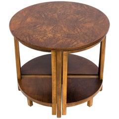 Donald Deskey Style Walnut Nesting Side Tables
