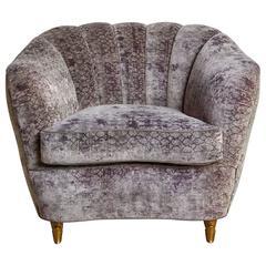 French Art Deco Walnut, Brass and Silk Velvet Club Chair, circa 1920