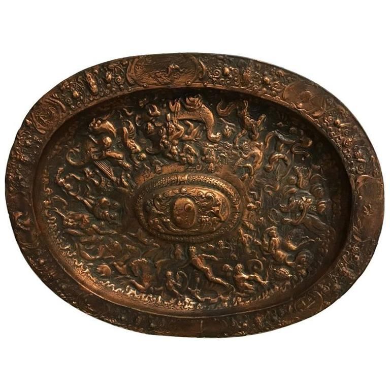 """Wall Plaque Depicting """"Classical Scene"""" with Copper Overlay"""