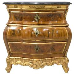 19th Century Rococo-Style Bombe Commode in Walnut w/ Parcel Gilt & Marble