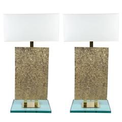 Tall Bronze, Brass and Glass Table Lamps