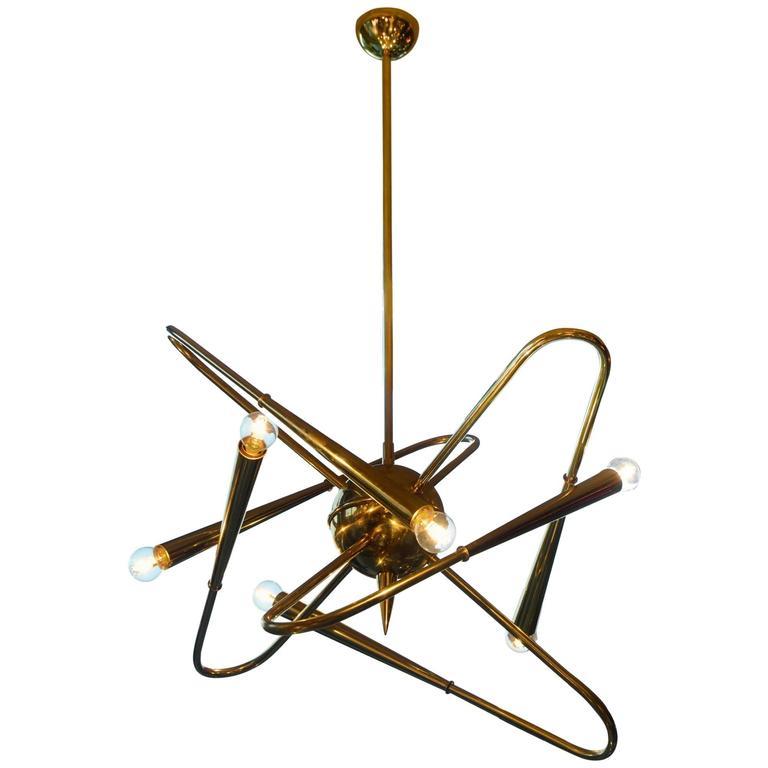 Unusual Pair of Brass Sputnik Chandelier