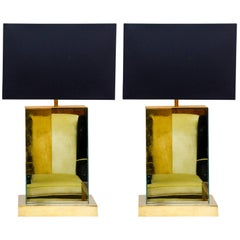 Pair of 1970s Brass and Mirror Lamps