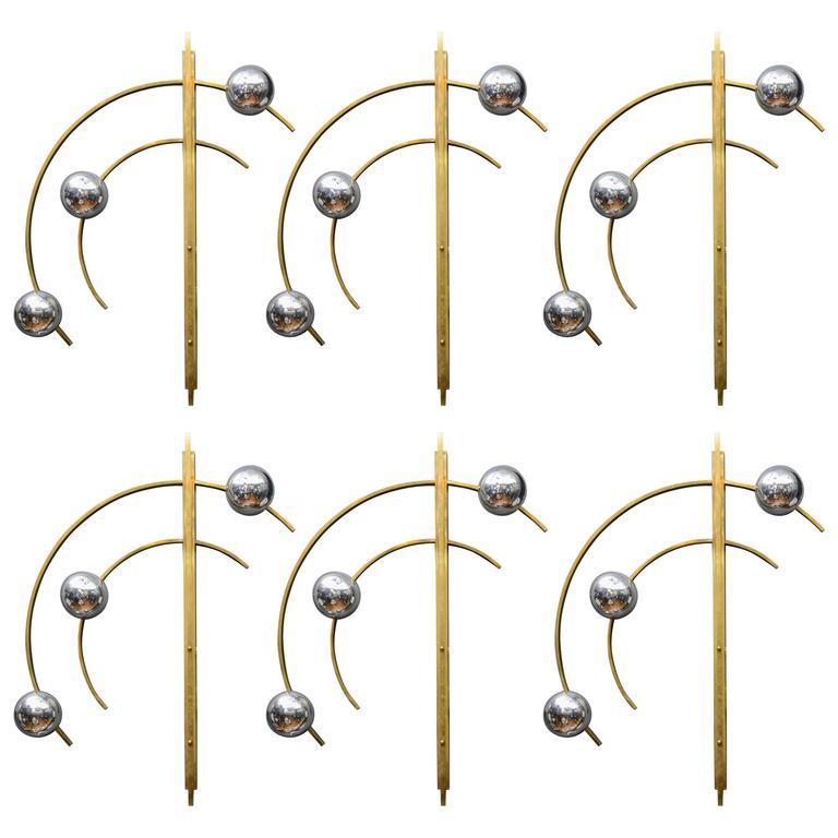 Set of Six Original Brass and Murano Glass Globes Brass Wall Sconces