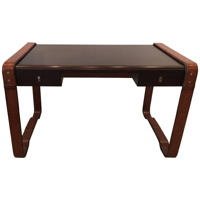 Original Vintage Ralph Lauren Stitched Leather Desk By EJ Victor For Sale  At 1stdibs