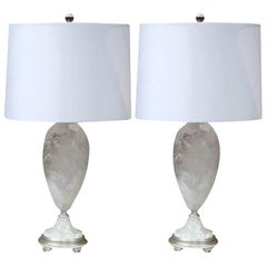 Pair of Rock Crystal Table Lamps with Round Shades from Brazil
