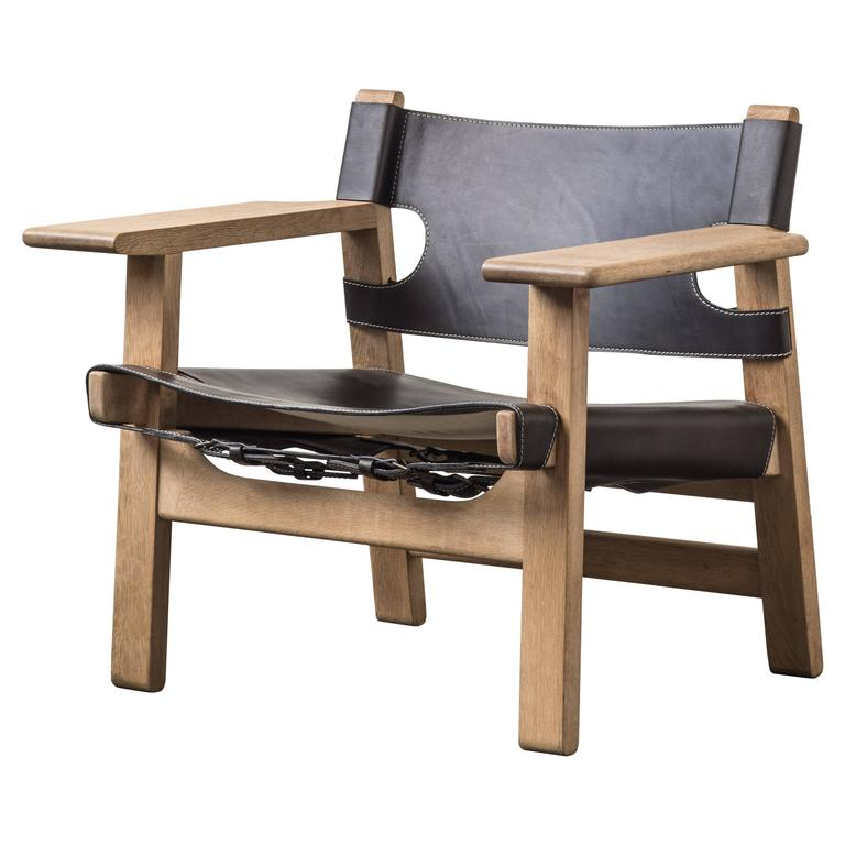Black Leather Spanish Chair by Børge Mogensen For Sale