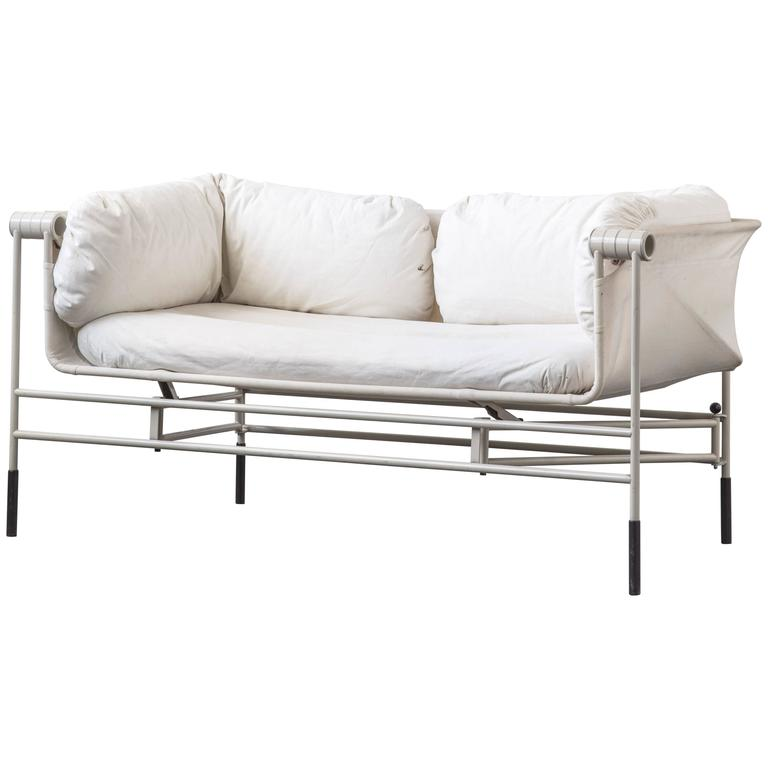 Foldable italian sofa with grey steel frame at 1stdibs Steel frame sofa