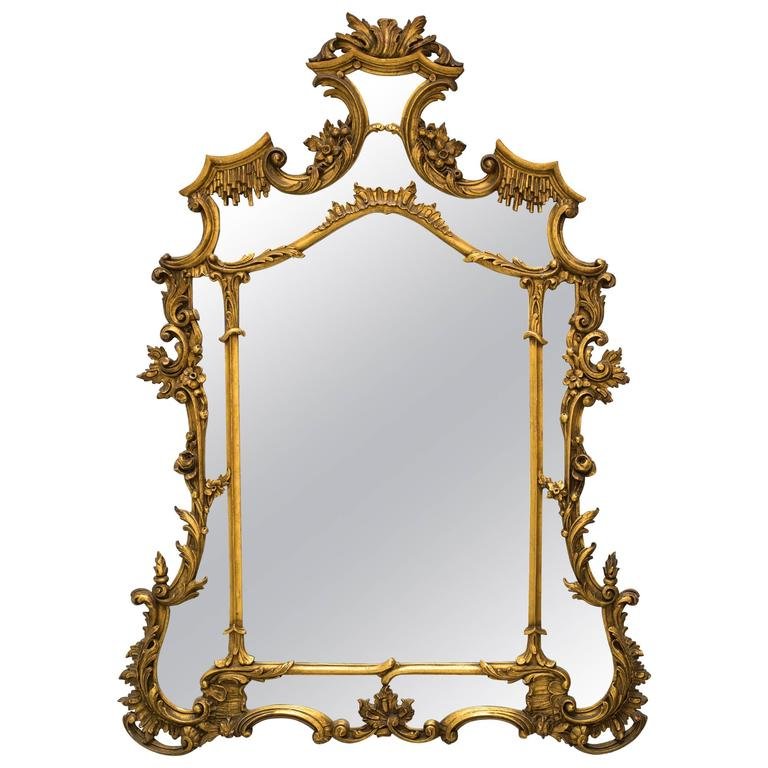 1930s Carved Gilt Wood French Mirror