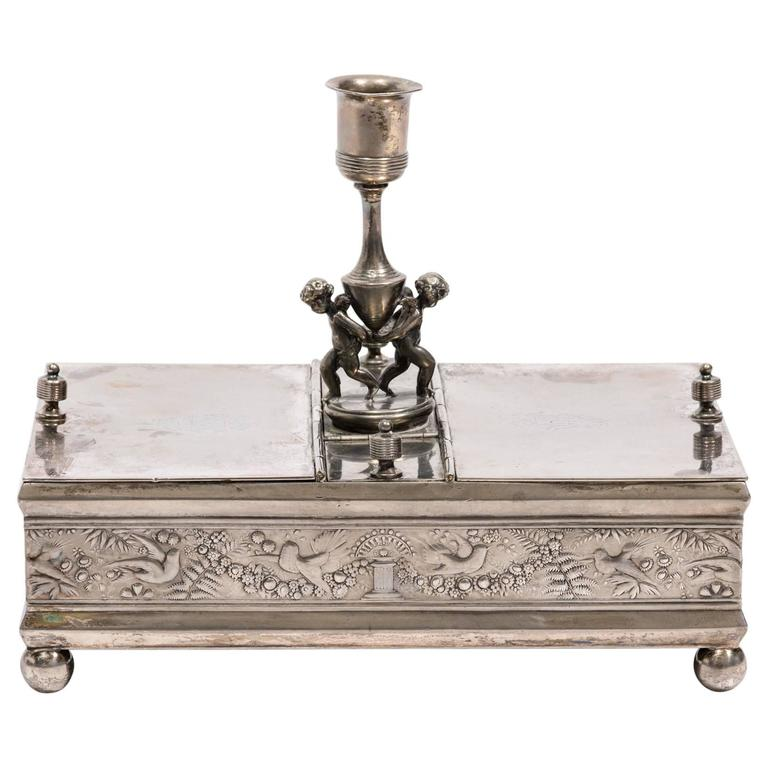 19th Century Silver Plate Letter Box