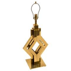1970s Geometric Brass Table Lamp