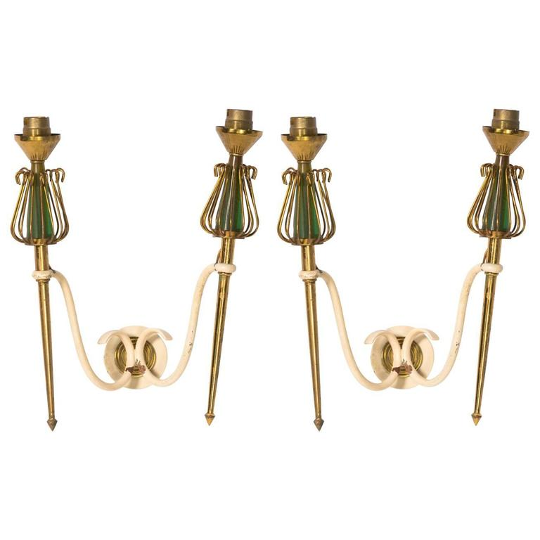 Pair of French 1940s Brass Sconces
