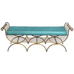 Three-Seat Italian Gilt Metal Bench