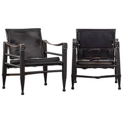 Pair of Black Leather Safari Chairs