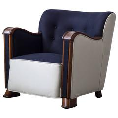 Two-Tone Easy Chair with Mahogany Frame