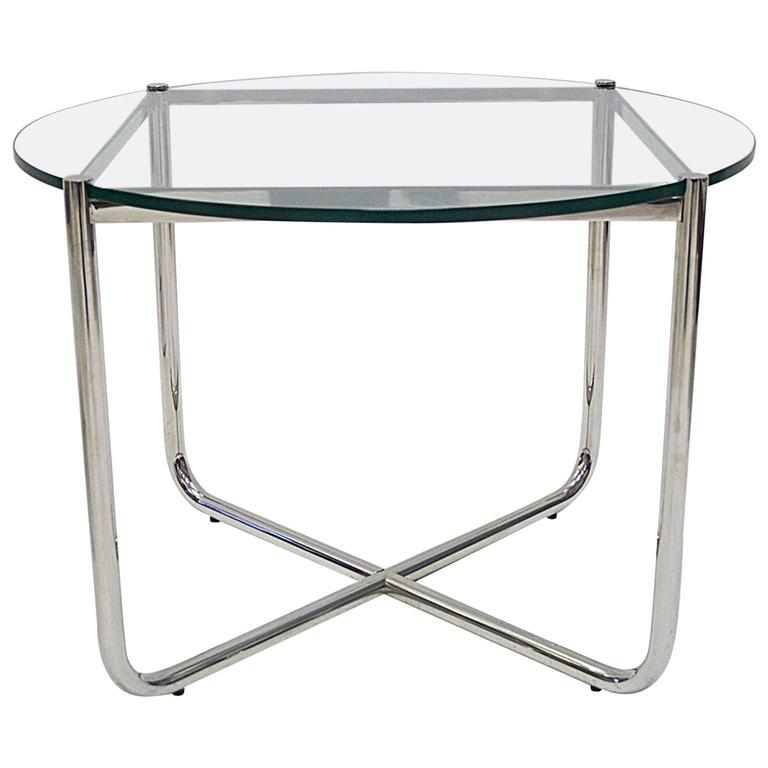 Knoll Studio Ludwig Mies Van Der Rohe Glass And Chrome Mr Coffee Or Cocktail Table At 1stdibs