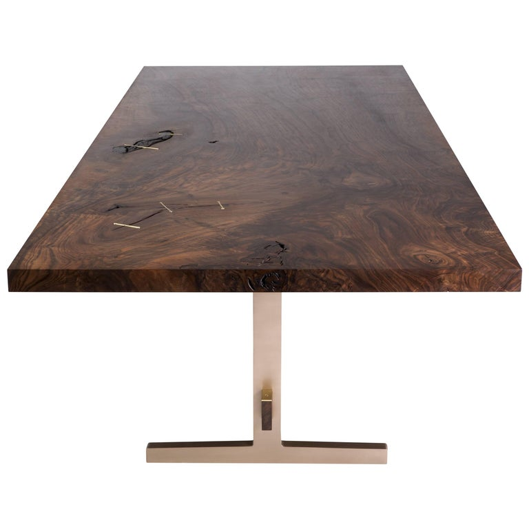Modern Cast Bronze Trestle Dining Table with California Bastogne Walnut Slab Top For Sale