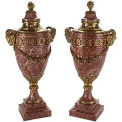 Very Large Pair of French Ormolu-Mounted Marble Urns, 19th Century