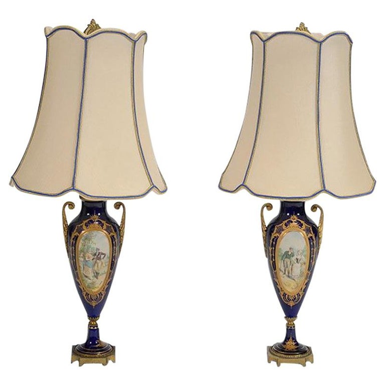 Pair of Sèvres Style Porcelain Urns Mounted Lamps