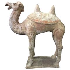 Large Chinese Han Dynasty Style Terracotta Figure of a Camel