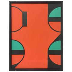 Vintage circa 1980s Hard Edge Geometric Abstract Oil on Canvas Painting 3 of 5