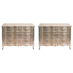 Pair of 1950s Silver Leaf Chests