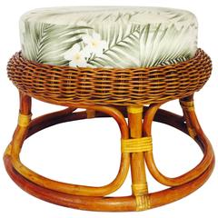 Mid-Century Paul Frankl Style Rattan and Wicker Ottoman
