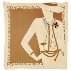 "1980s Chanel  France ""Coco Portrait"" Silk Scarf"