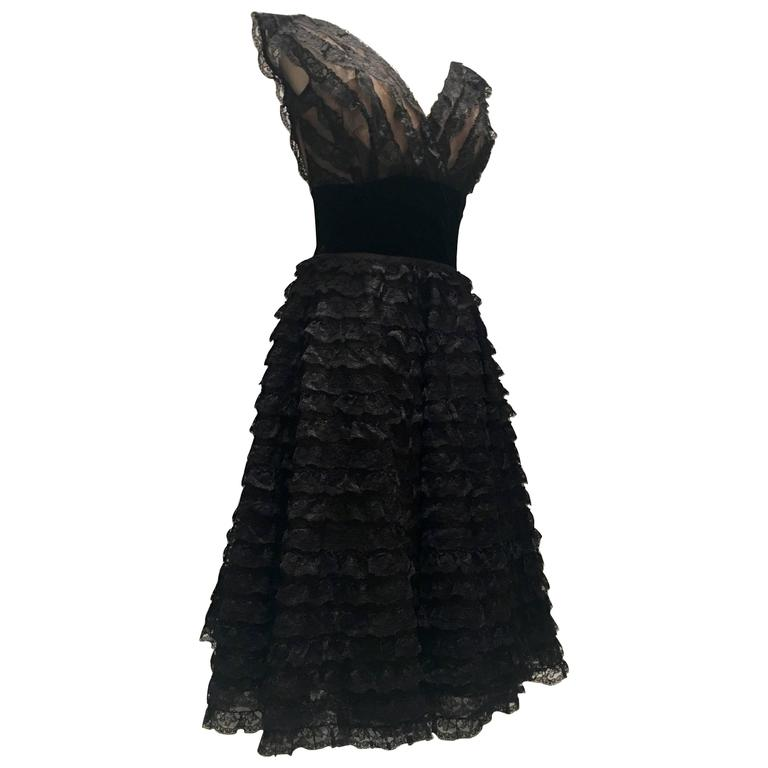 1950s Handmade Lace Black And Nude Tulle Party Dress Size